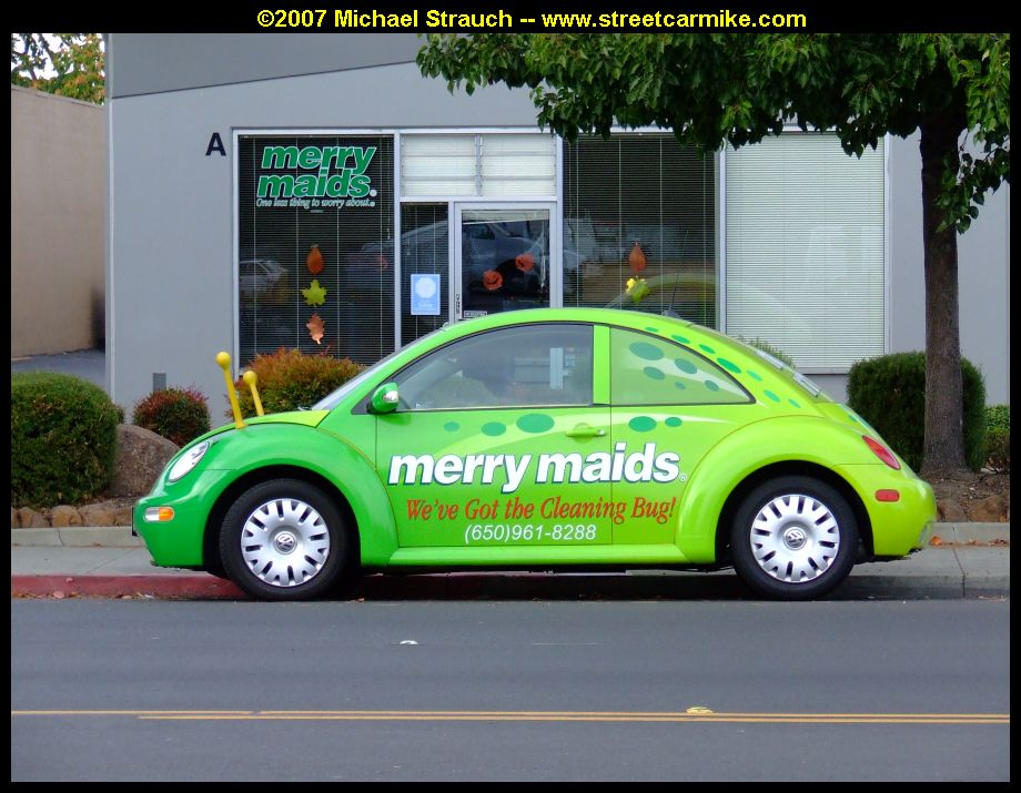 weve got the cleaning bug so these two merry maids beetles are made up as green ladybugs parked at the former mountain view office on old middlefield