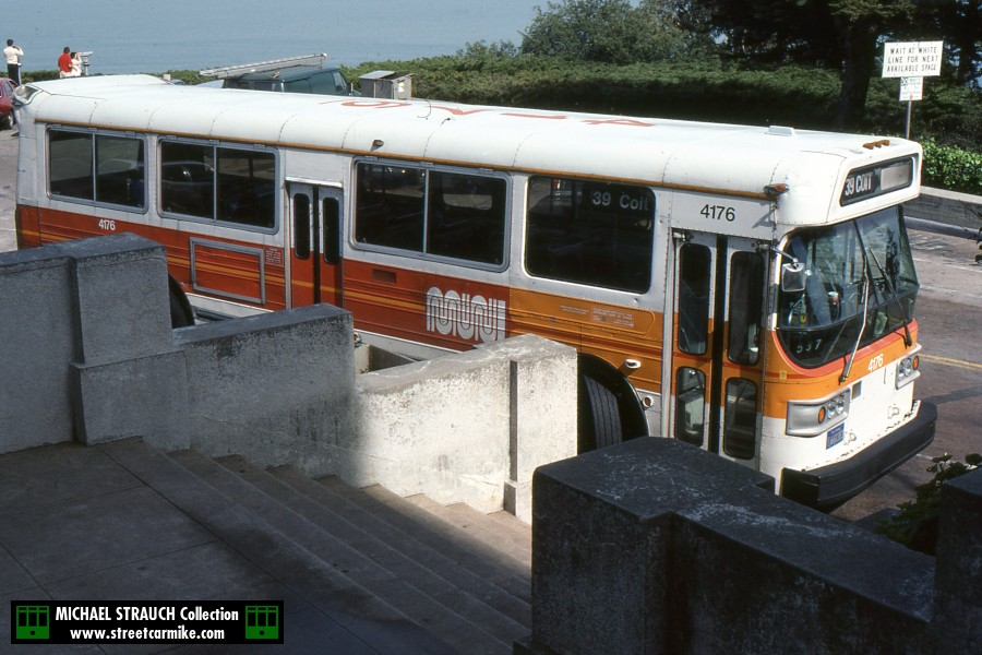 AM General 4176 on 39 Coit at Coit Tower in a slide dated July 1984. One photo added 12/18/14.
