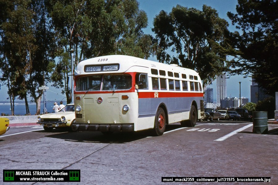 Cut down Mack 2359 in modified GMC Cal Cable livery on 39 Coit at Coit Tower on July 13, 1975. Bruce Korusek slide from my collection added 04/21/18.